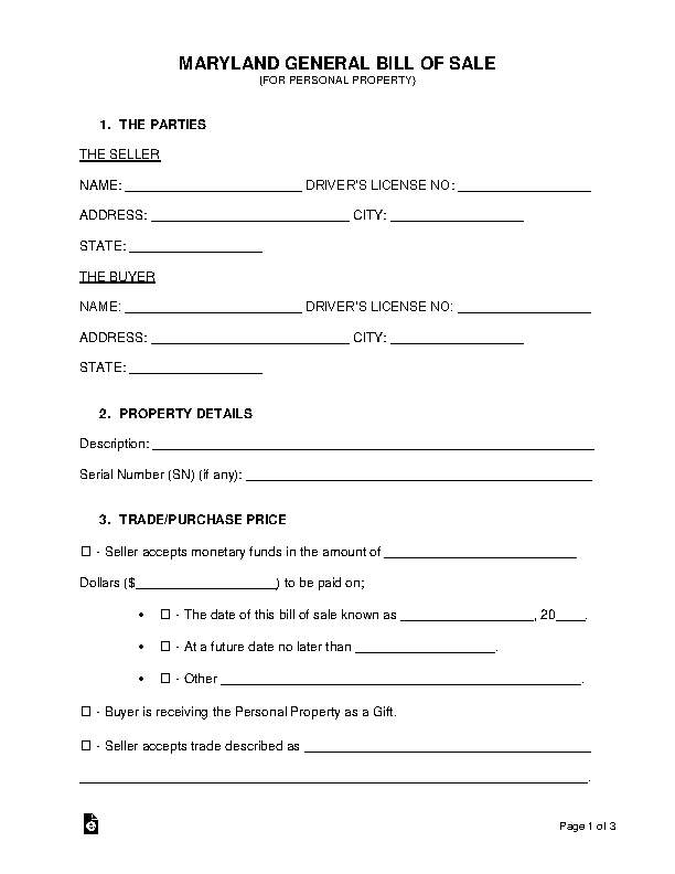 Maryland General Personal Property Bill Of Sale