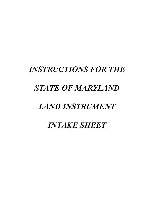 Maryland Land Record Intake Sheet Instructions