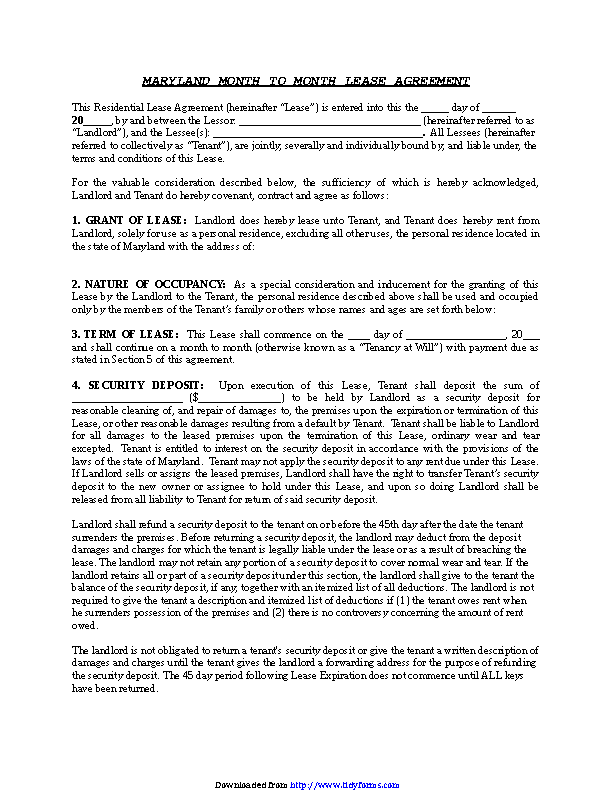 Maryland Month To Month Lease Agreement Pdfsimpli