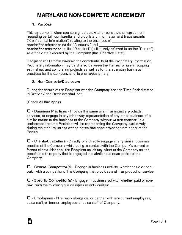 Maryland Non Compete Agreement Template