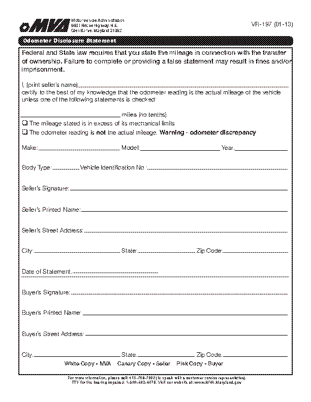 Maryland Odometer Disclosure Statment Form Vr 197