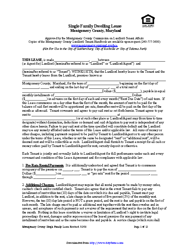 Maryland Single Family Dwelling Lease Form Pdfsimpli