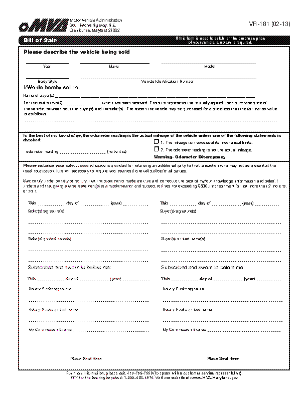 Maryland Vehicle Bill Of Sale Vr181