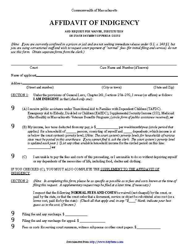Massachusetts Affidavit Of Indigency