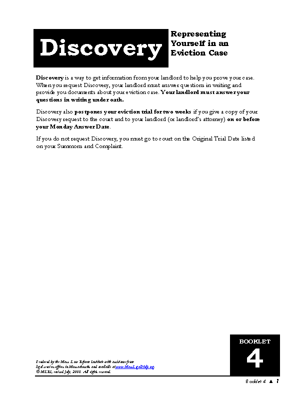 Massachusetts Discovery Form