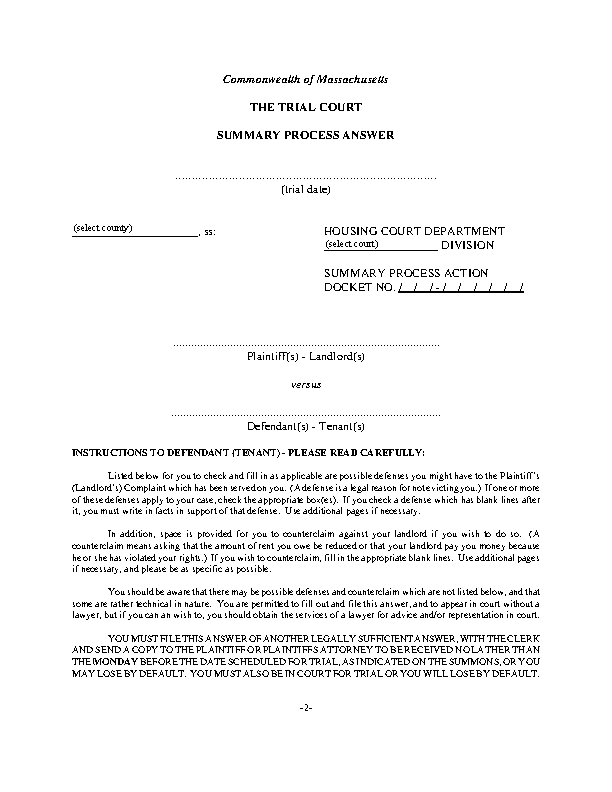 Massachusetts Eviction Summary Process Answer Form