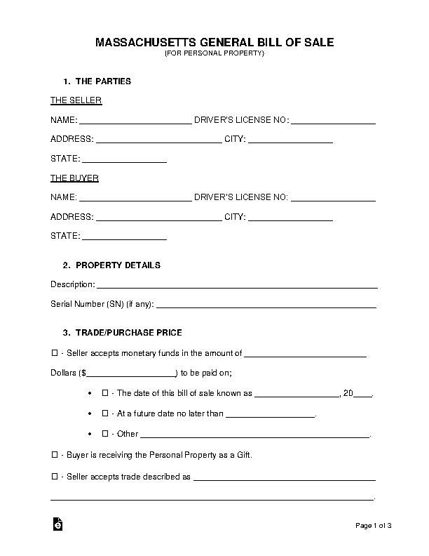 Massachusetts General Personal Property Bill Of Sale