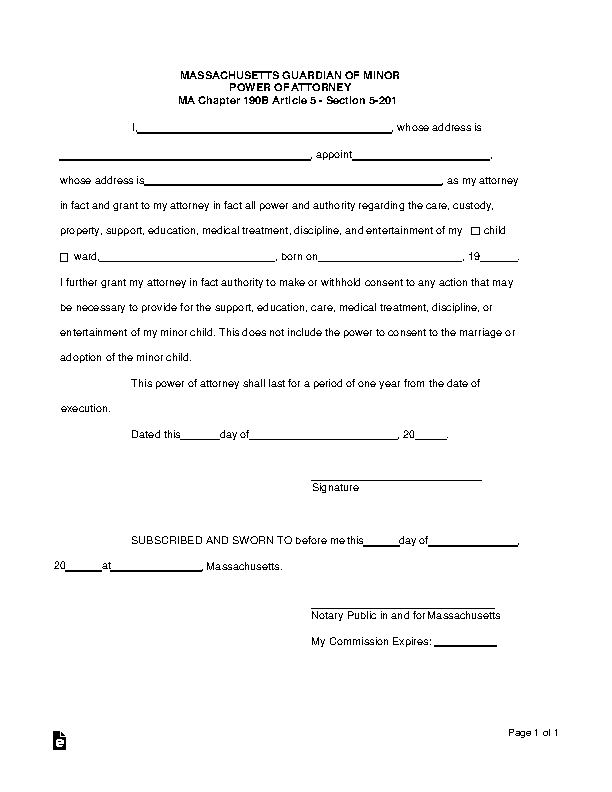 Massachusetts Guardian Of Minor Power Of Attorney