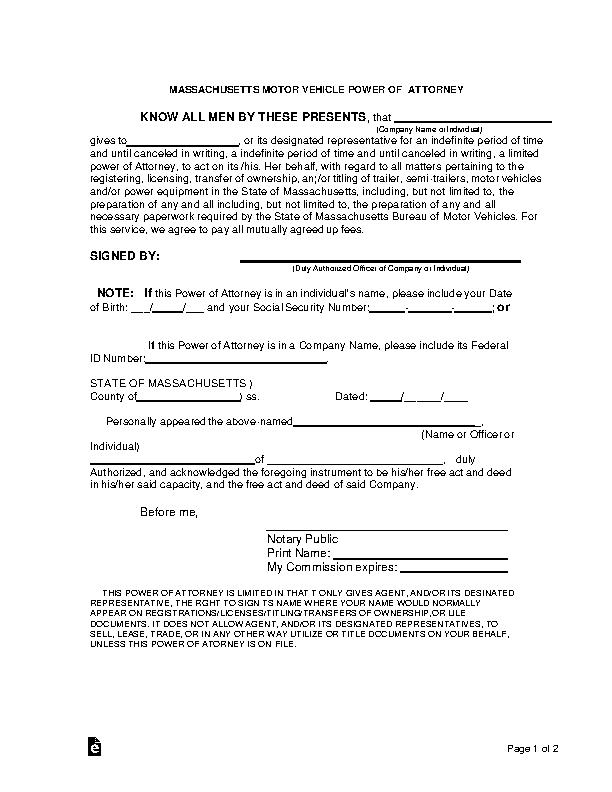 Massachusetts Motor Vehicle Power Of Attorney Form