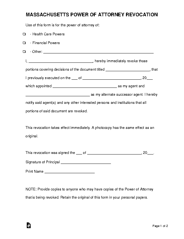Massachusetts Power Of Attorney Revocation Form