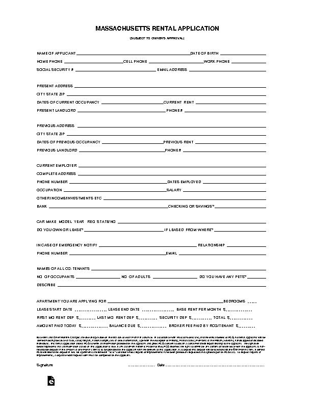 Massachusetts Rental Application Form