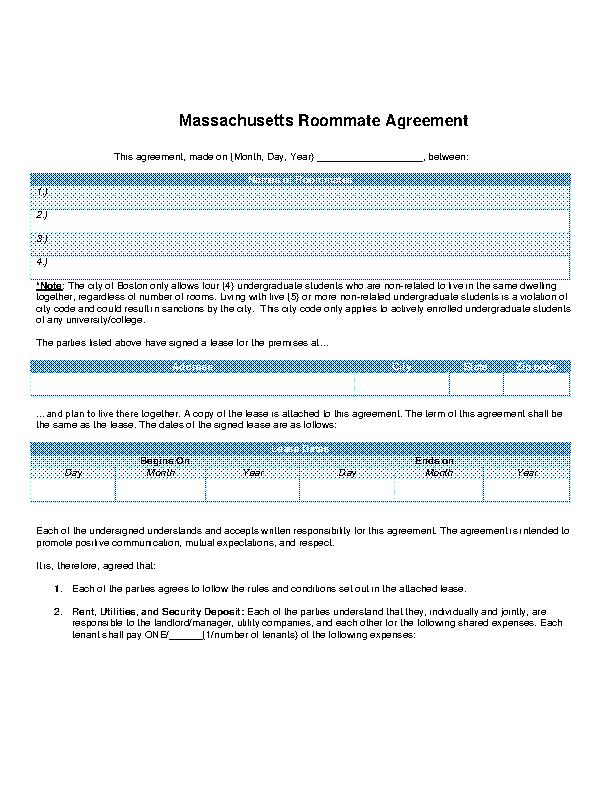 Massachusetts Roommate Agreement Form