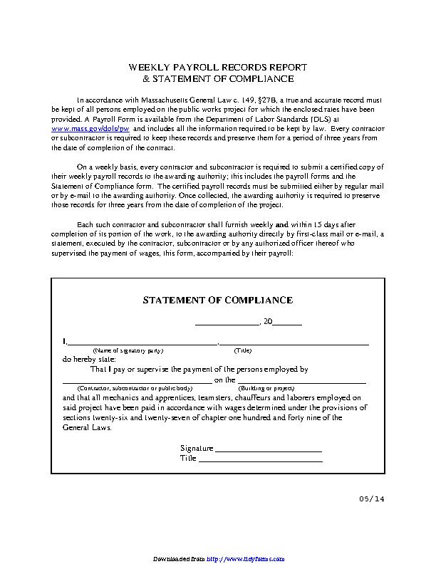 Massachusetts Statement Of Compliance