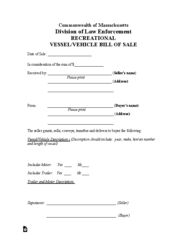 Massachusetts Vehicle Vessel Bill Of Sale Form