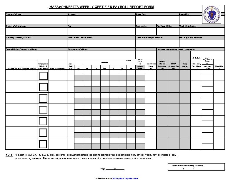 Massachusetts Weekly Certified Payroll Report Form - PDFSimpli