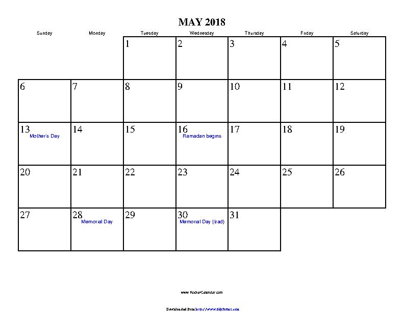 May 2018 Calendar 2 Pdfsimpli