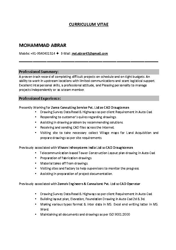 Mechanical Drafter Resume Pdfsimpli