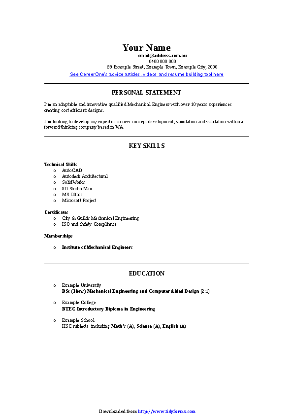 Mechanical Engineer Cv Template Pdfsimpli