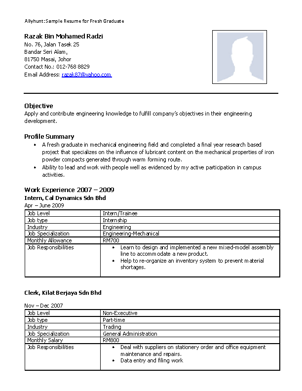 Mechanical Engineering Resume For Fresh Graduate Pdfsimpli