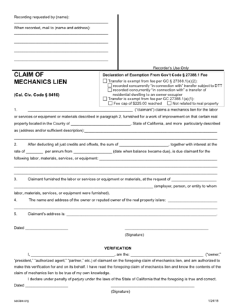 Mechanics Lien California PDF