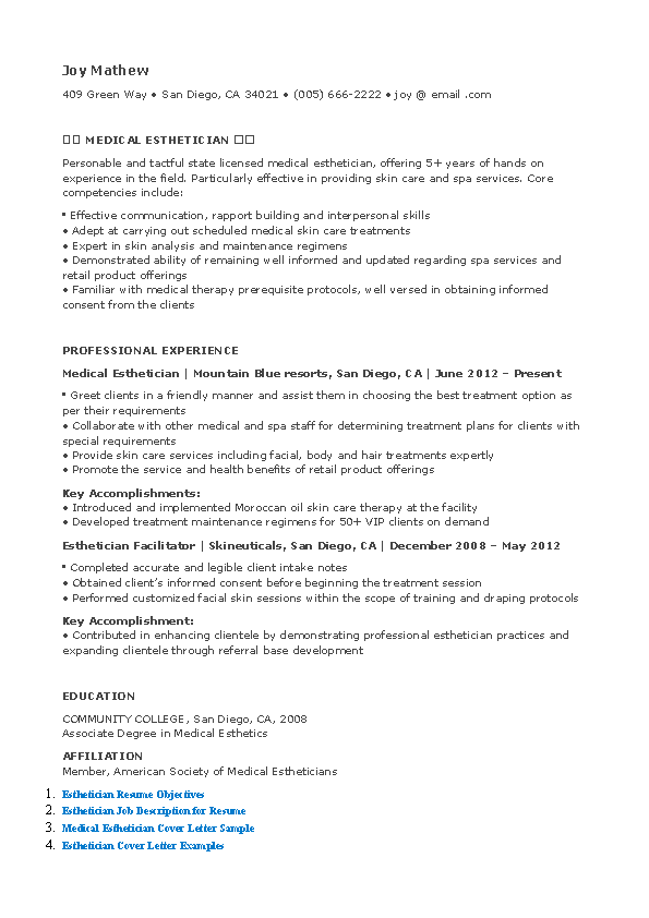Medical Esthetician Resume - PDFSimpli
