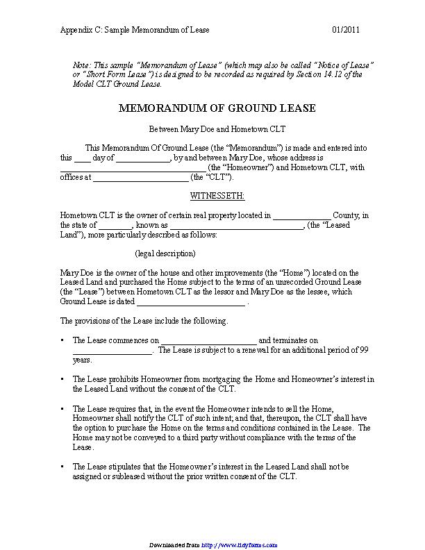 Memorandum Of Ground Lease