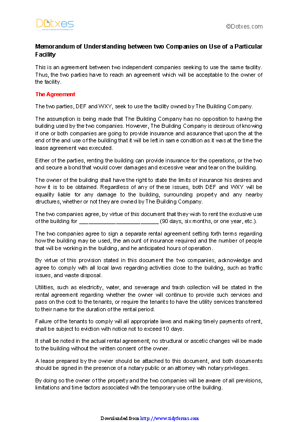 Memorandum Of Understanding Between Two Companies On Use Of A Particular Facility