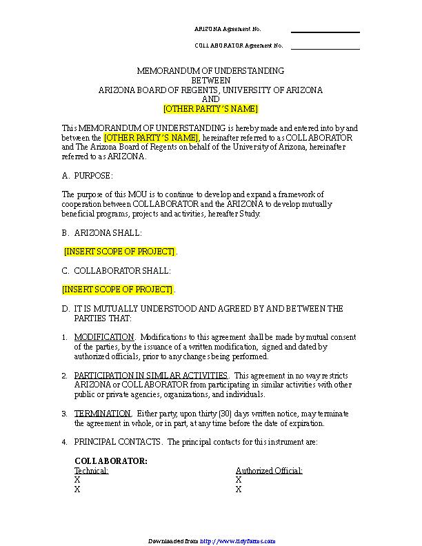 Memorandum Of Understanding Template 3