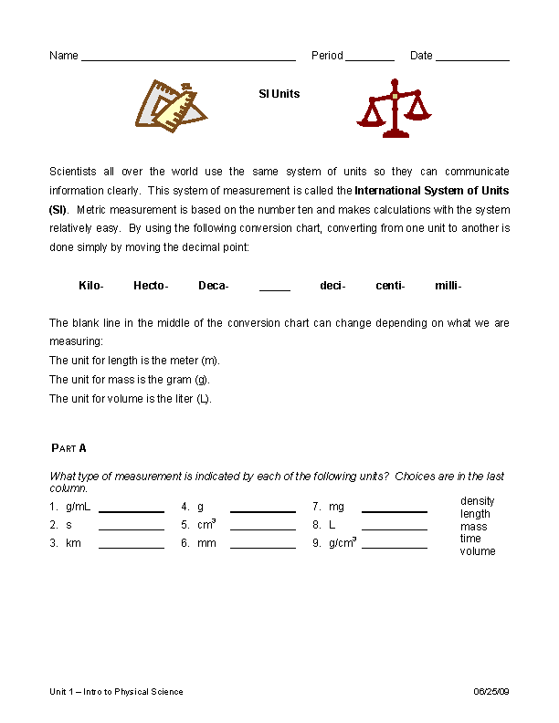 Metric System Conversion Chart Worksheet Example