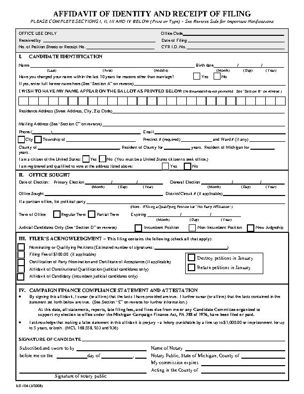 Michigan Affidavit Of Identity And Receipt Of Filing