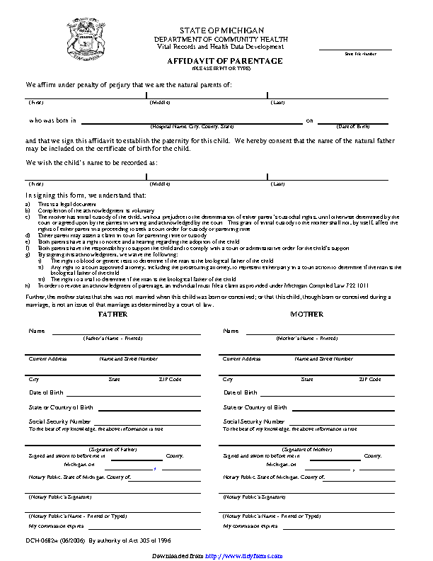 Michigan Affidavit Of Parentage