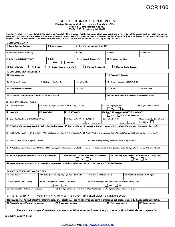Michigan Employers Basic Report Of Injury