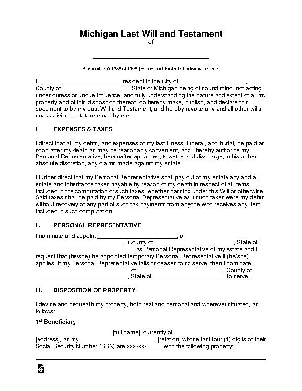 Michigan Last Will And Testament Template
