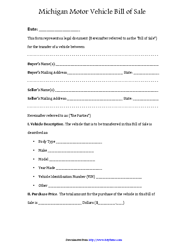 Fill Out Your Michigan Motor Vehicle Bill Of In Seconds With Pdfsimpli