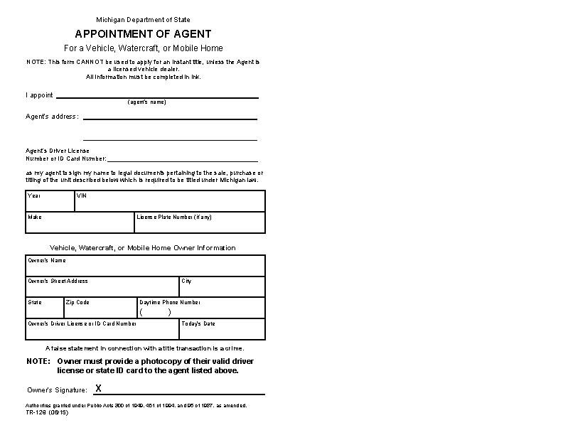 Michigan Motor Vehicle Power Of Attorney Form