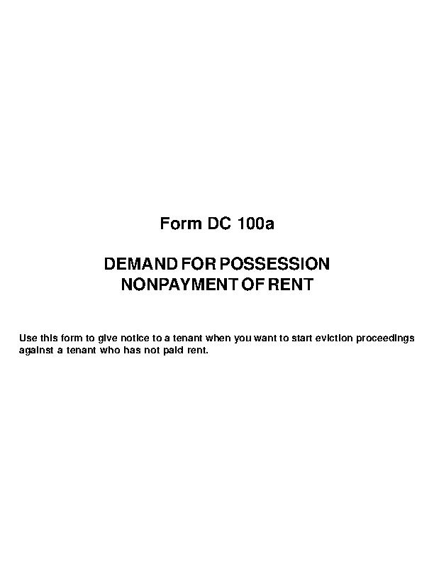 Michigan Notice To Quit Nonpayment Rent Form Dc 100A
