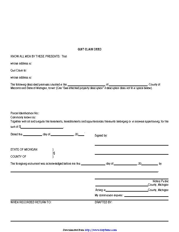 quick claim deed form for michigan  Michigan Quitclaim Deed Form 14 - PDFSimpli