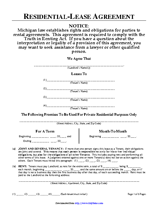 Michigan Residential Lease Agreement Form Pdfsimpli