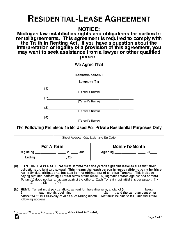 Michigan Residential Lease Agreement Template