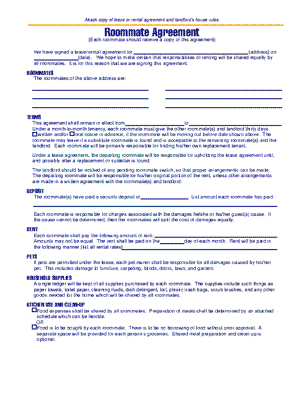 Michigan Roommate Agreement Template