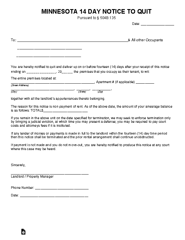 Minnesota 14 Day Notice To Quit Nonpayment