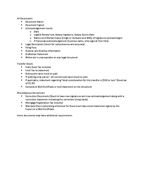 Minnesota Checklist Recording A Deed