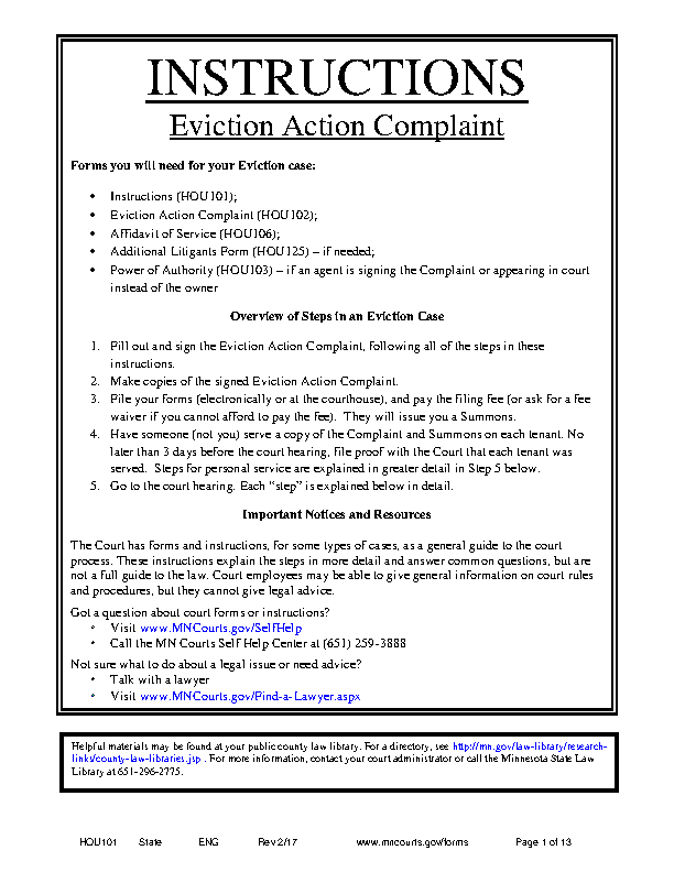 Minnesota Eviction Action Complaint Instructions