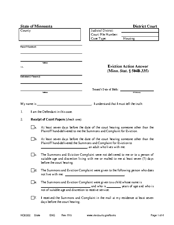 Minnesota Eviction Answer Form