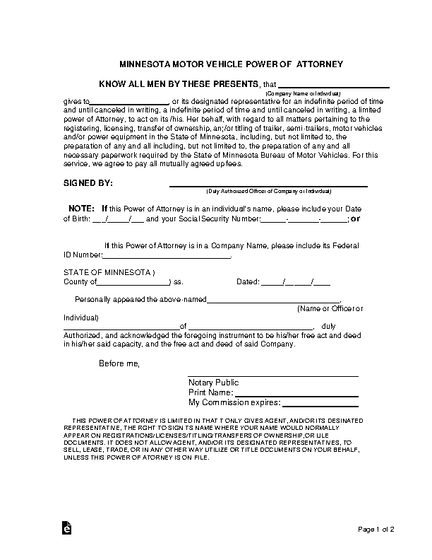 Minnesota Motor Vehicle Power Of Attorney Form
