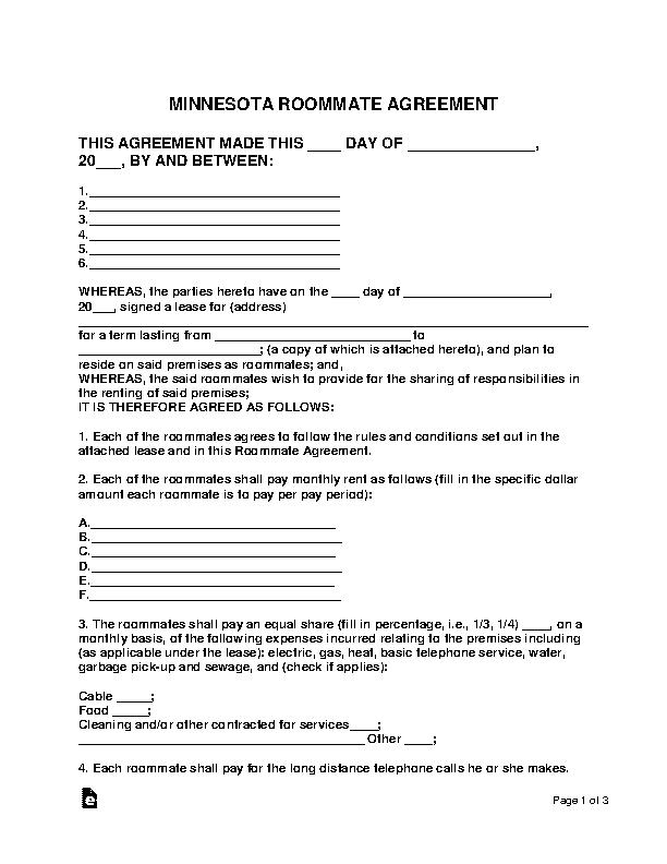 Minnesota Roommate Agreement Form