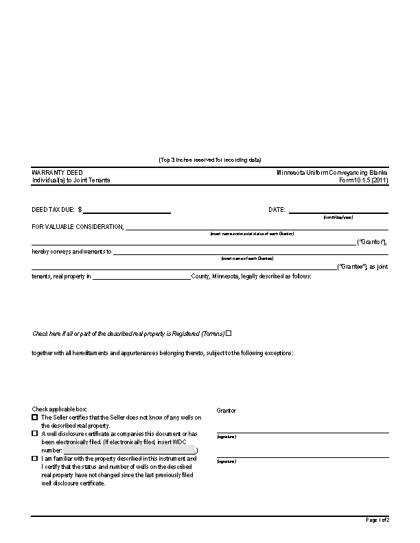 Minnesota Warranty Deed Individuals To Joint Tenants