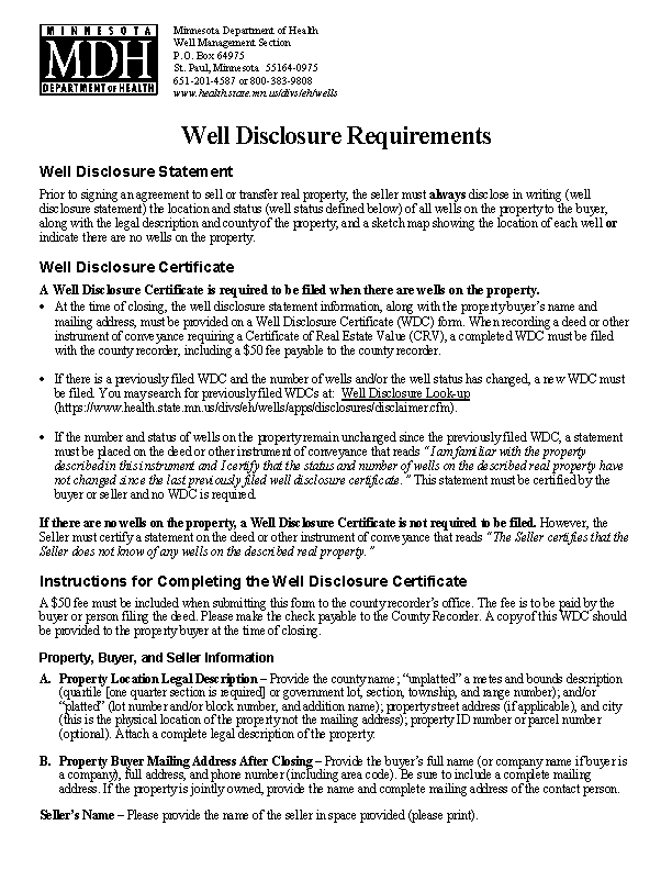 Minnesota Well Disclosure Certificate