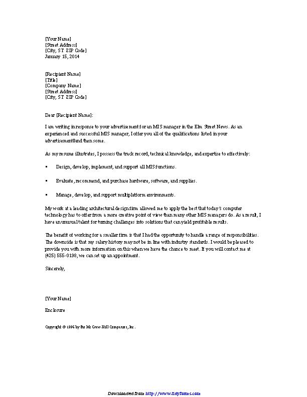 Mis Manager Resume Cover Letter - PDFSimpli