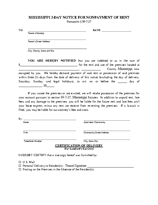 Mississippi 3 Day Notice To Quit Nonpayment